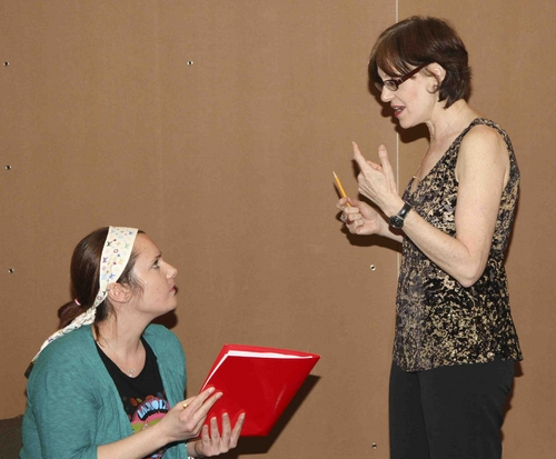 Sarah Ackerman and Nancy Shayne at 'Marcy in the Galaxy' In Rehearsal