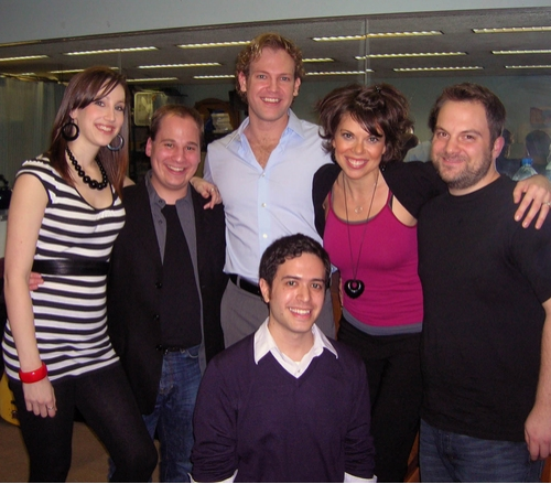 The cast of Reach the Sky: Songs by Adam Gwon: Adam Gwon (front), backed by Natalie Weiss, Jared Gertner, Michael Hunsaker, Jill Abramovitz and music director Vadim Feichtner