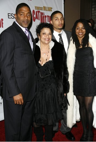 Norm Dixon and Debbie Allen with son and daughter at 'Cat on a Hot Tin Roof' Opening Night Arrivals