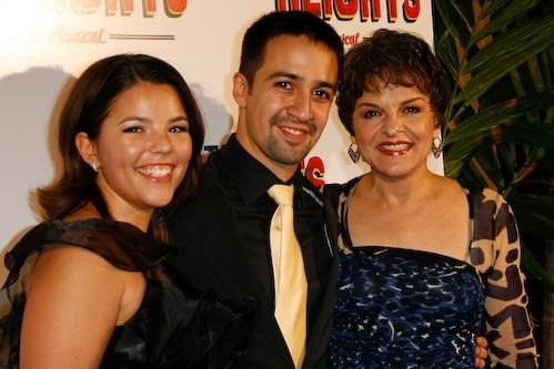 Lin-Manuel Miranda, Vanessa, and Priscilla Lopez