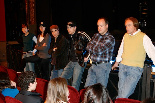 Jennifer Lee Crowl, Sarrah Strimel, Roger Bart, Barrett Martin, Kevin Ligon, and Jack Doyle