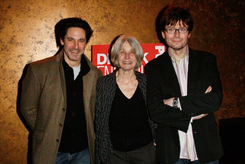 Scott Cohen, Caryl Churchill, and Director James Macdonald at 'Drunk Enough to Say I Love You?' Opening
