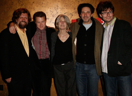 Oskar Eustis, Samuel West, Caryl Churchill, Scott Cohen, and James Macdonald at 'Drunk Enough to Say I Love You?' Opening