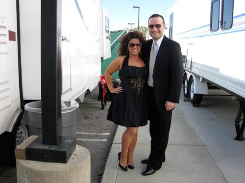 Marissa Jaret Winokur and husband, Judah Miller outside her trailer