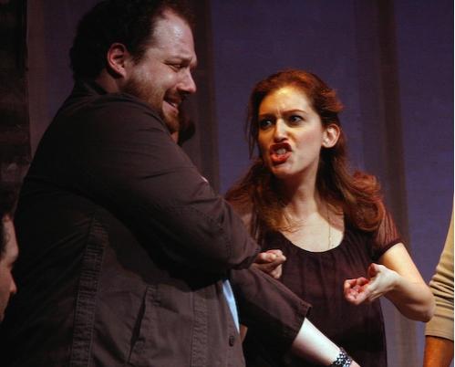 Sandy Rustin (right) gives Jordan Gelber an injection of kosher-heroin  Photo