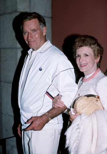 Charlton Heston and his wife Lydia Heston at
