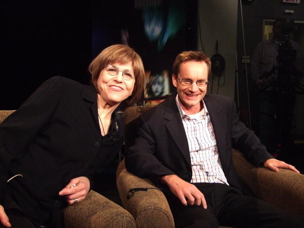Ever wonder what the view is when you're a guest on THEATER TALK? Well, kids, this is it. Here's SUSAN HASKINS and her legendary co-host Michael Riedel readying to interview me. FYI - the show airs this coming FRIDAY on PBS.  at Harvey's Broadway Blog: Previews Continue and I Need To Lie Down