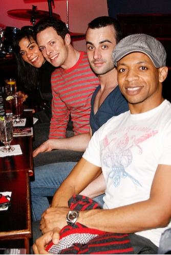 Cathryn Basile, Ben Hartley, Guest, and Derrick Baskin
