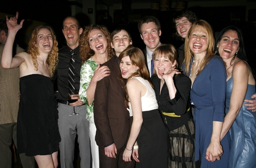 Liz Flahive, Joel Van Liew, Julie White, Tobias Segal, Arija Bareikis, Brian Hutchison, Jenni Barber, Will Rogers, at From Up Here Opening Night Party