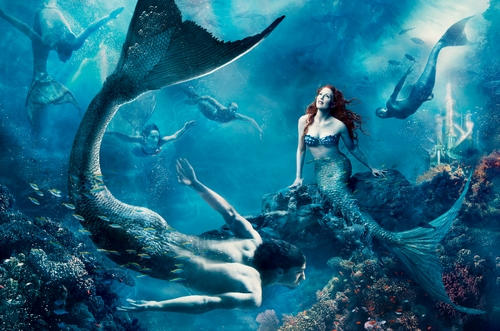 Julianne Moore, as Ariel, and world champion swimmer Michael Phelps, as a merman, star in the new Annie Leibovitz 'Dream Portrait' for Disney Parks.