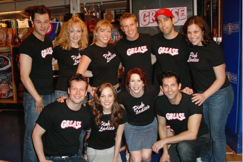 Matthew Hydzik, Amber Stone, Robyn Hurder, Brian Sears, Jose Restrepo, Lindsay Mendez bottom row left to right- Keven Quillon, Laura Osnes, Kirsten Wyatt,