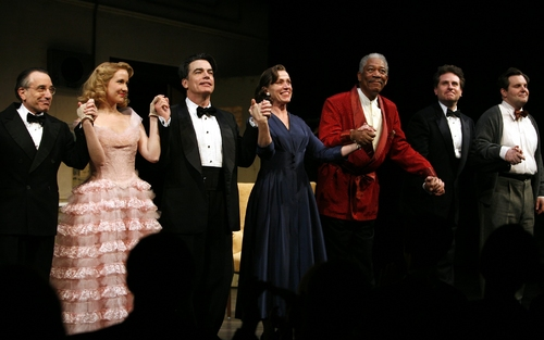 Chip Zien, Anna Camp, Peter Gallagher, Frances McDormand, and Morgan Freeman