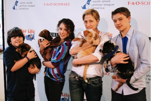 Josh Flitter, Hallie Kate Eisenberg, Edie Falco, and Brandon Hannan