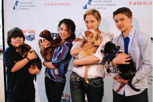 Josh Flitter, Hallie Kate Eisenberg, Edie Falco, and Brandon Hannan