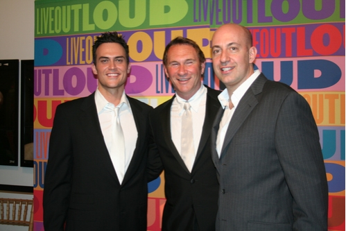 Cheyenne Jackson, Hal Rubenstein and Leo Preziosi Jr. (LIVE OUT LOUD Founder/Executive Director)