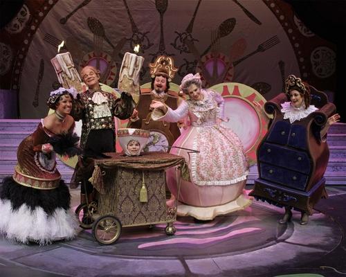 The enchanted objects (Lto R: Talana Deshaies (Babette), Rick Hilsabeck (Lumiere), Wi Photo