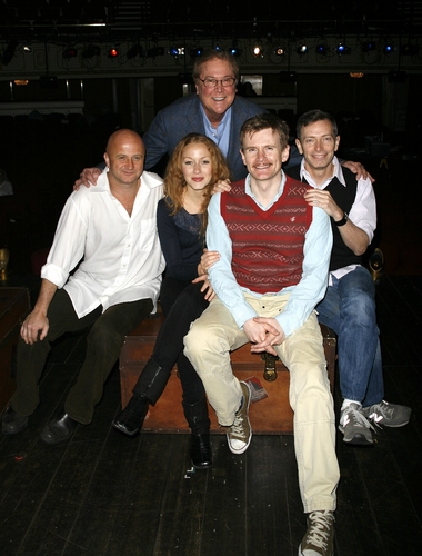 Cliff Saunders, Jennifer Ferrin, Charles Edwards, Arnie Burton with producer Bob Boyett at '39 Steps' Moves To The Cort Theatre