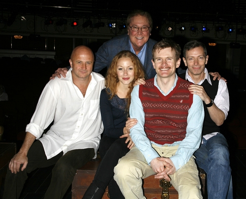 Cliff Saunders, Jennifer Ferrin, Charles Edwards, Arnie Burton with producer Bob Boyett