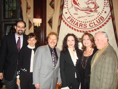 Elias Al-Hoge, Lauren Schneider, Robert R. Blume (Executive Director of the Drama Desk Awards), Bebe Neuwirth, Randie Levine-Miller and Len Cariou