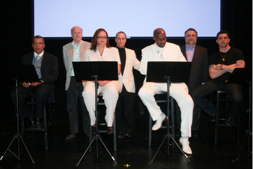 Angel Ramos, Rocco Landesman, Vilma Ortiz Donovan, David Rothenberg, Kenneth Harrigan, Richard Frankel and Casimiro Torres at Fortune Society Hosts Benefit Performance Of The Castle