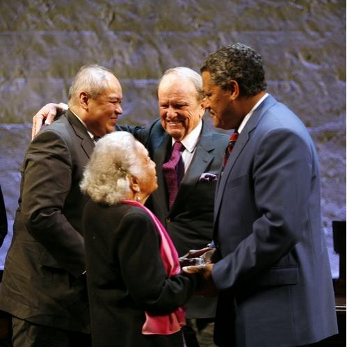 Laurence Fishburne, George Stevens Jr. (Playwright), Thurgood Marshall Jr., and Mrs. Thurgood Marshall