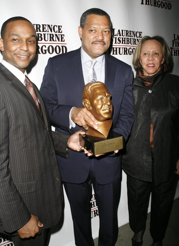 Laurence Fishburne receiving an Award form the Thurgood Marshall College Fund from Dwayne Ashley and Dr. Joyce Payne