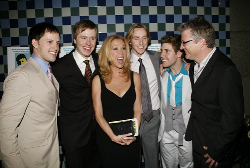Andrew C, Call, Steven Booth, Adam Halpin, and Jesse JP Johnson with Kathie Lee Gifford and Eric Schaeffer