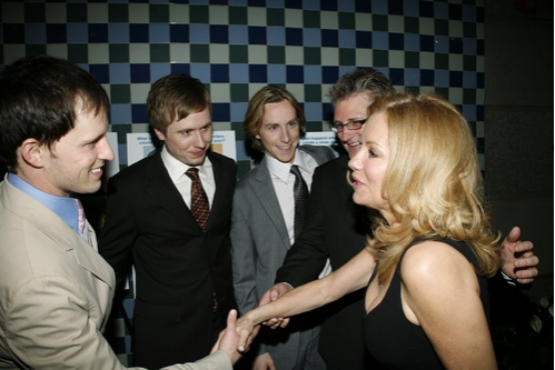 Andrew C, Call, Steven Booth, Adam Halpin, and Jesse JP Johnson with Kathie Lee Gifford
