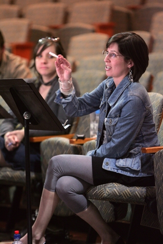 Director Kate Whoriskey, back, and playwright Lauren Gunderson at a rehearsal for the 2008 PPF reading of Emilie