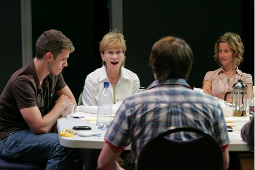 Alex Lubischer, Kathy Baker, Bradford Anderson and Jessi Campbell in rehearsal for the 2008 PPF reading of John Kolvenbach's Goldfish, directed by Loretta Greco