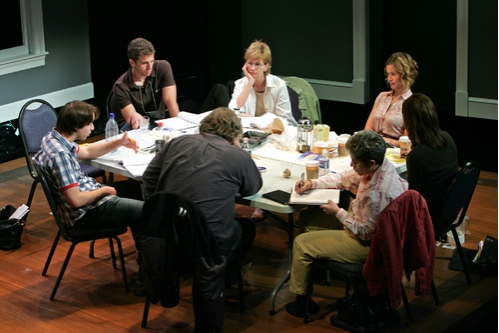 (l. to r.) Bradford Anderson, Alex Lubischer, Graham Beckel, Kathy Baker, Lue Morgan Douthit, Jessi Campbell and Loretta Greco in rehearsal for the 2008 PPF reading of John Kolvenbach's Goldfish