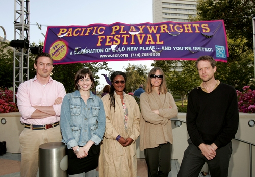 South Coast Repertory's 2008 PPF playwrights: (l. to r.) Sharr White, Lauren Gunderson, Lynn Nottage, Amy Freed and John Kolvenbach. (Missing: Richard Greenberg and Kate Robin.)