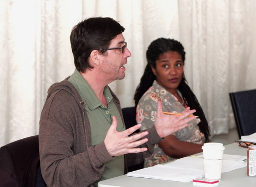 Director Mark Rucker and playwright Lynn Nottage in rehearsal for the 2008 PPF reading of By the Way, Meet Vera Stark.
