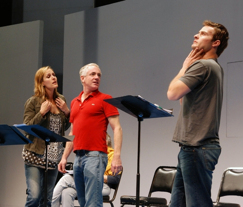 Susannah Schulman, Danny Scheie and Erik Sorensen in rehearsal for the 2008 PPF reading of Amy Freed's You, Nero, directed by Sharon Ott