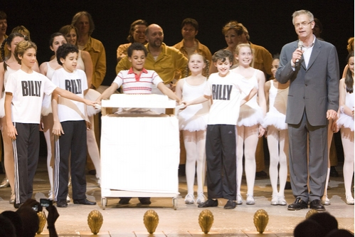 Stephen Daldry (Director) with Layton Williams (centre with cake) and Broadway Billy Elliots