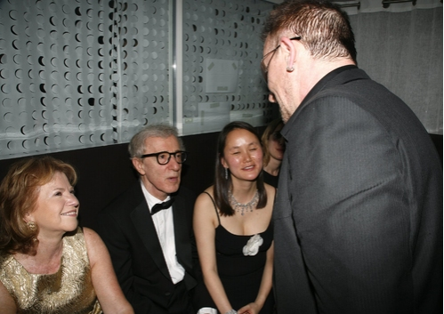 Woody Allen and Bono with wife Soon Yi, and sister Letty Aronson