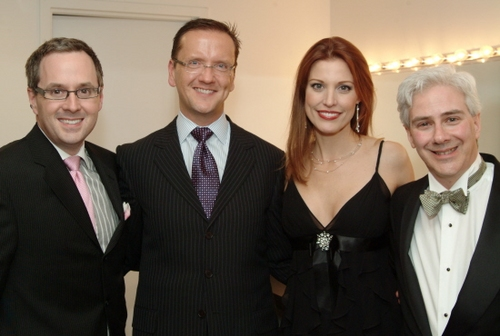 Christopher Flynn and Daniel Newton, Gala co-chairs, with Rachel York and Rick Lombardo