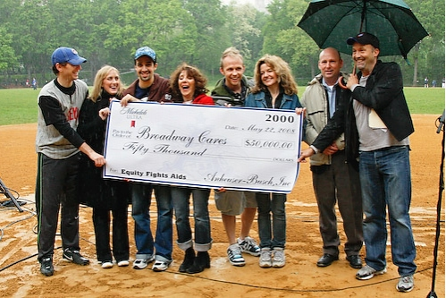 Bob Davis (along with BC/EFA's Frank Conway) presents the actors with a check for $50,000