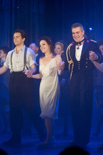 Julian Ovenden (Armand), Ruthie Henshall (Marguerite) and Alexander Hanson (Otto) at the Marguerite curtain call