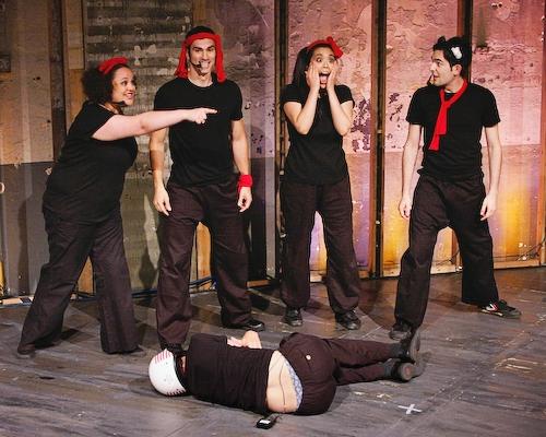 Lynn Andrews, Stephen Reyes,Brooke Ishibashi,Matthew-Lee Erlbach, (on the floor) Stephen Sheffer at Michael Musto visits 'Happy Kung Fu'