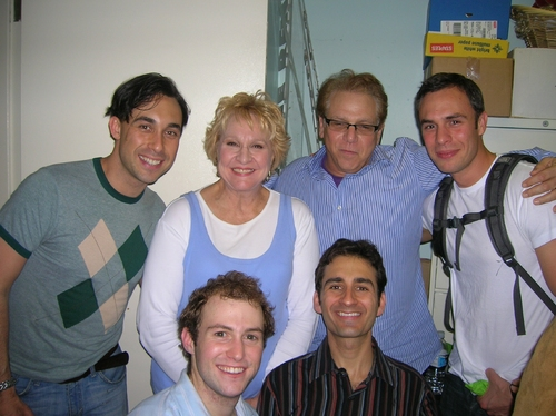 Back row:  Ryan Duncan, Pamela Myers, Director Stuart Ross, Dan Bogart; Front:  Nick Gaswirth, Erik Liberman