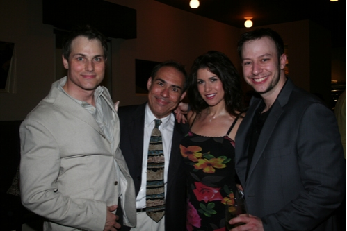 Asa Somers with cast members Darin DePaul, Stacey Harris and