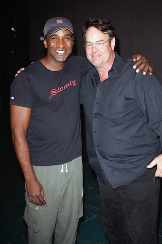 Norm Lewis and Dan Aykroyd at Dan Aykroyd visits 'Little Mermaid'