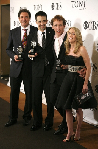 Kevin McCollum, Lin-Manuel Miranda, and Jeffrey Seller, and Jill Furman at Tony Award Winners In The Press Room!