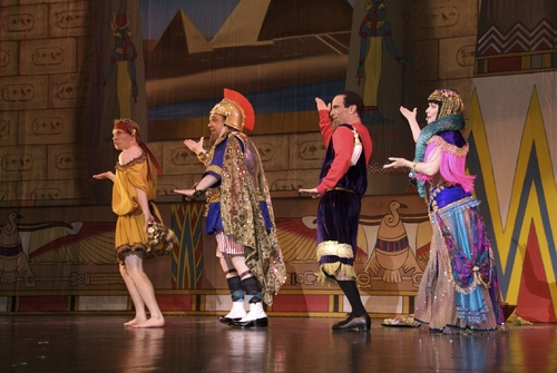 "Adam Wylie (Geroge M Cohan), Joe D'Auria (Joe Weber), Joshua Kinkel (Lew Fields) and Dale Kristien (Lillian Russell) perform ""Cleo Queen of the Nile"""