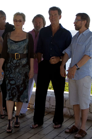 Stellan Skarsgard, Meryl Streep, producer and ABBA musician Benny Andersson and Pierce Brosnan at  'Mamma Mia!' Film Stars Visit Greece