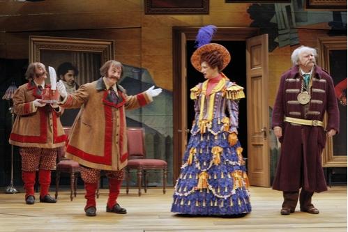 Lee Mark Nelson (Dobchinsky), Kris L. Nelson (Bobchinsky), Sally Wingert (Anna Andreyevna) and Peter Michael Goetz (Anton Antonovich)