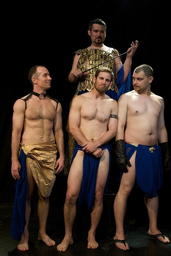 Eric C. Bailey (above) as Testiclees and, from left, Jason Alan Griffin, Jon Crefeld, and Chris C. Cariker as the Eunuchs