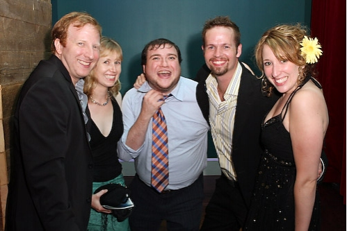 Hunter Bell, Brittany Brown, Todd Buonopane, Jason Dula and Courtney Balan at [title of show] Curtain Call & After Party