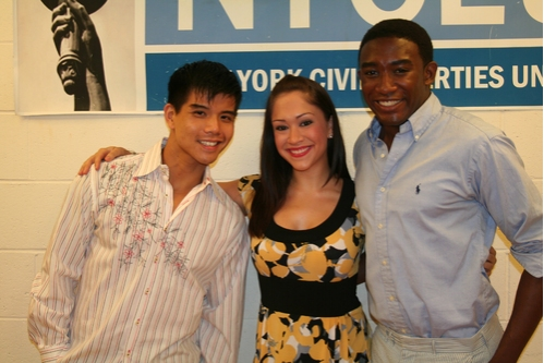 Telly Leung (upcoming Godspell), Diana DeGarmo (upcoming Godspell) and Andrew Arrington (upcoming Godspell) at Broadway Stands Up for Freedom